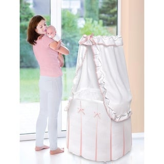pink baby furniture. badger basket majesty baby bassinet with canopy white and pink bedding furniture
