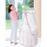 Badger Basket Majesty Baby Bassinet with Canopy White and Pink Bedding
