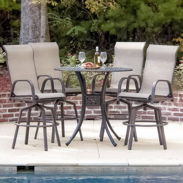 Shop Madison Bay 4-person Sling Patio Bar Set - Overstock - 10295477