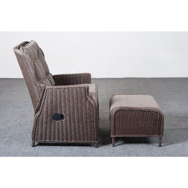 Wondrous Shop Cobana All Weather Resin Rattan Wicker Recliner Chair Ibusinesslaw Wood Chair Design Ideas Ibusinesslaworg