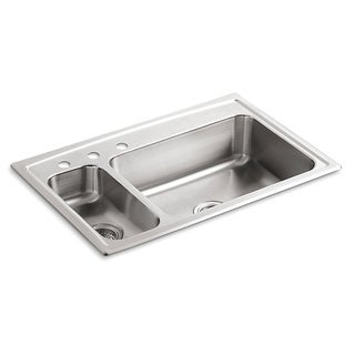 Kohler Toccata High/Low Self-Rimming Stainless Steel 33x22x7.687 3-Hole Kitchen Sink
