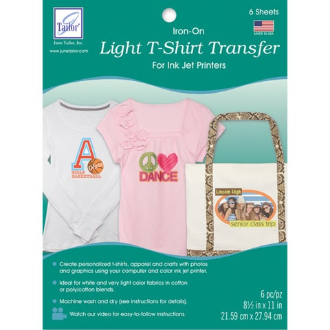 Light T Shirt Iron On Ink Jet Transfer Sheets 8.5inX11in 6/Pkg