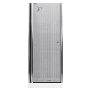 Kohler Fluence 30-1/4 in. x 65-1/2 in. Pivot Shower Door in Bright Silver with Rhapsody Glass