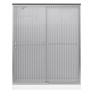 Kohler Fluence 59-5/8 inches x 55-3/4 inches Frameless Bypass Shower Door with Falling Lines Glass