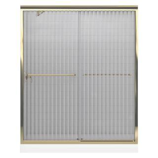 Kohler Fluence 59-5/8 inches x 70-5/16 inches Frameless Bypass Shower Door with Falling Lines Glass