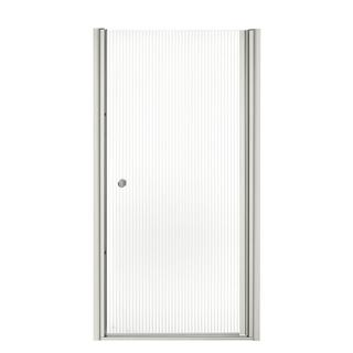 Kohler Fluence Frameless Pivot Shower Door with Falling Lines Glass
