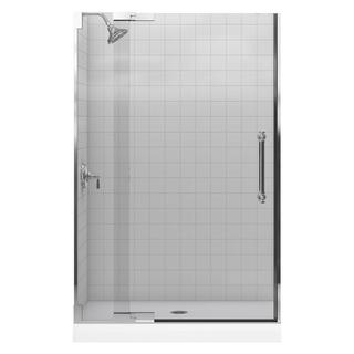 Kohler Pinstripe 47-3/4 inches x 72-1/4 inches Frameless Pivot Shower Door in Bright Polished Silver