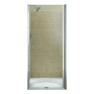 Kohler Fluence 39 inches x 65-1/2 inches Frameless Pivot Shower Door in Bright Silver Finish with Falling L