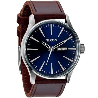 Nixon Men's A1051524-00 The Sentry Brown Leather Blue Dial Watch