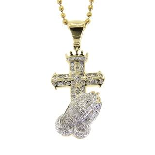 Sterling Silver 3/5ct TDW Diamond Cross Praying Hand Necklace (G-H, I2-I3)