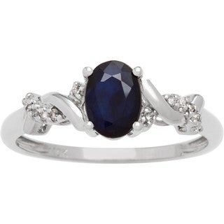 Viducci 10k White Gold Oval Gemstone and Diamond Accent Ring