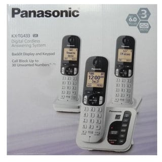 Panasonic KX-TG433SK DECT 6.0 Cordless Phone System with Call Block and Silent Mode (Refurbished)