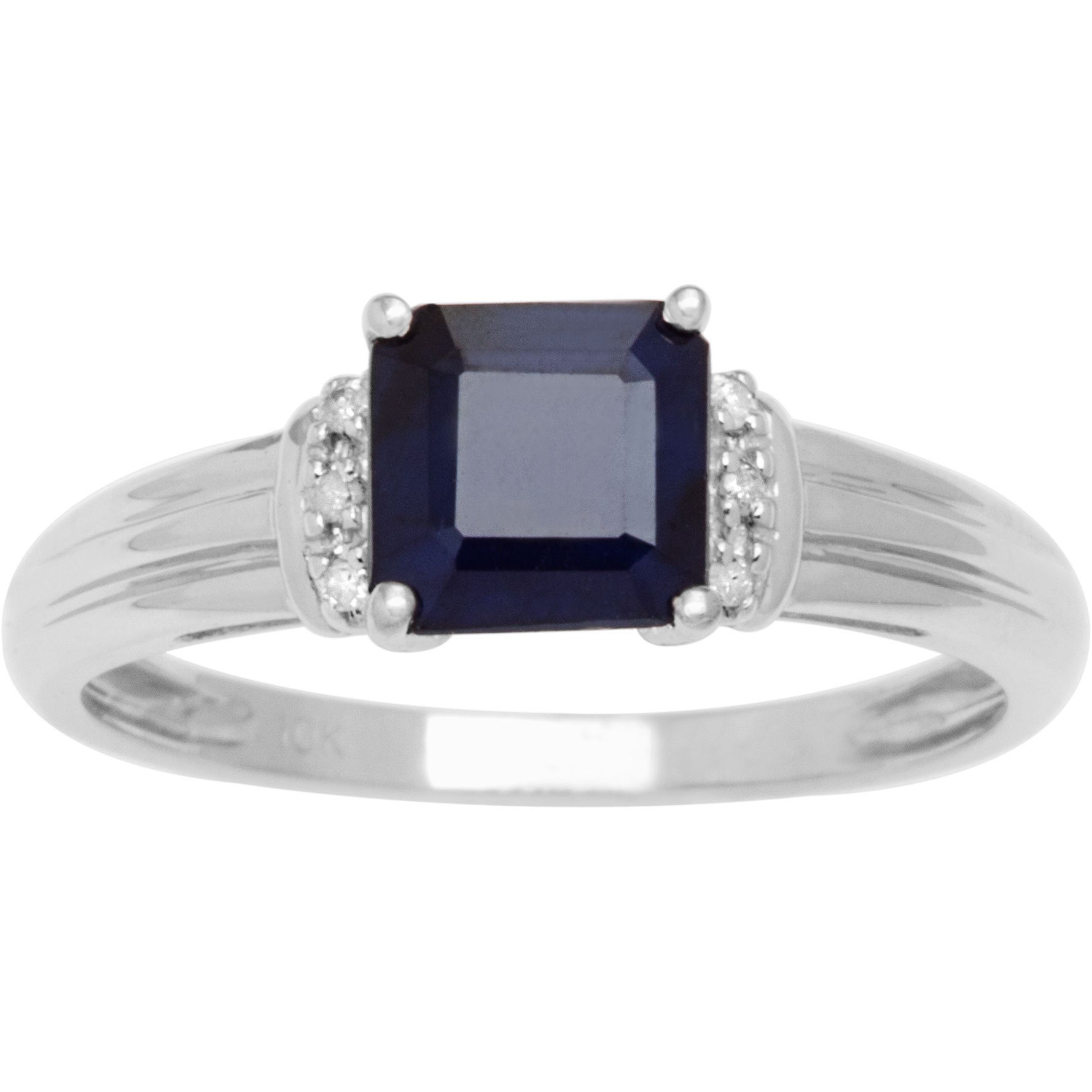 Viducci 10k White Gold Genuine Sapphire and Diamond 1/8 T...