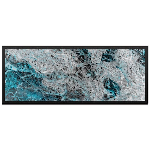 Emley 'Storm Turquoise' Contemporary Abstract Painting Giclée on Metal