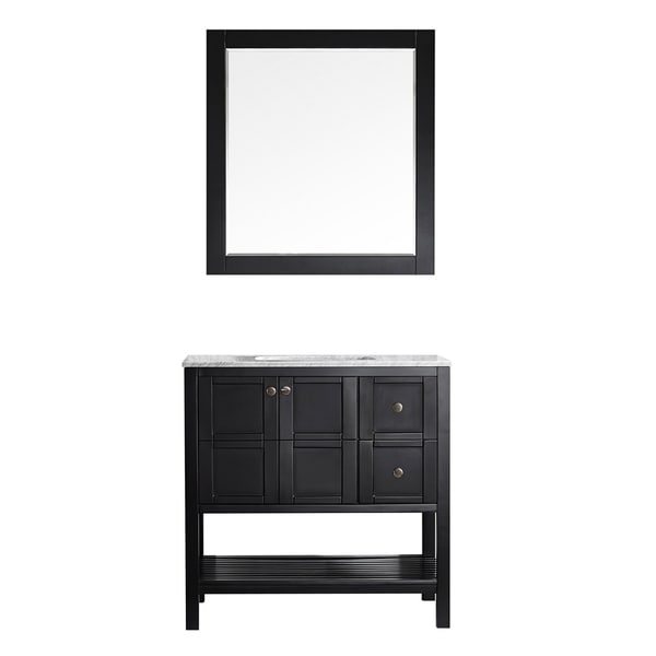 "Florence 36"" Single Vanity in Espresso with Carrara White Marble Top with Mirror"