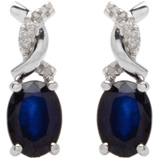 Viducci 10k White Gold Oval Gemstone and 1/10ct TDW Diamond Earrings (G-H, I1-I2)