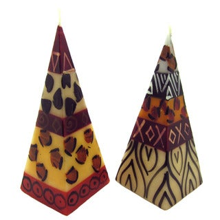 Set of Two Hand-Painted Pyramid Candles - Uzima Design - Nobunto Candles (South Africa)