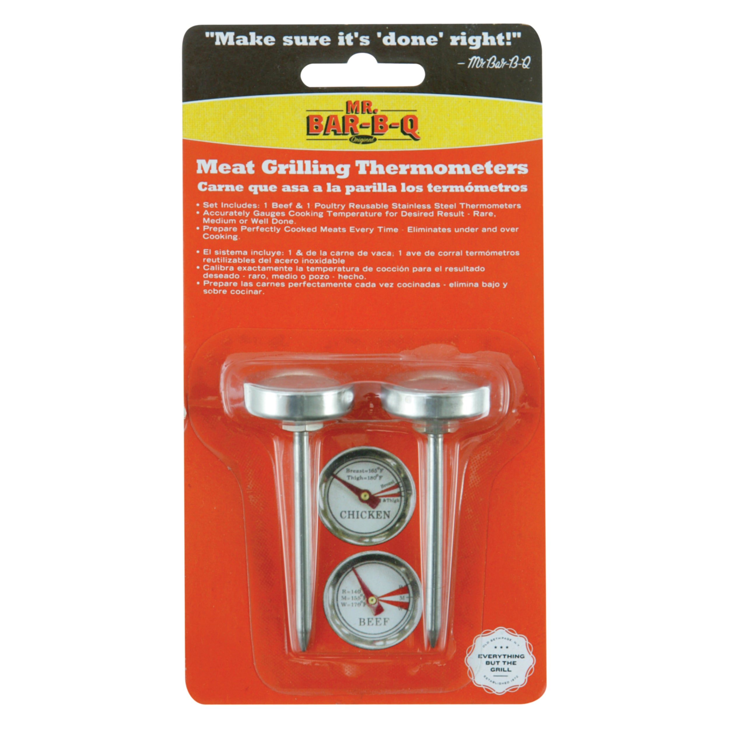 MR. BAR-B-Q Meat Thermometer 2-Pack (1), Silver stainless...