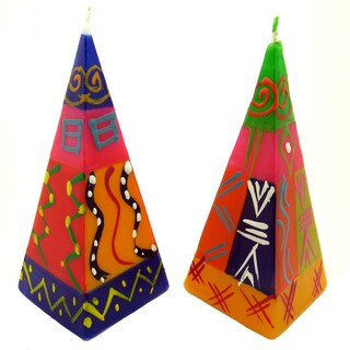 Set of Two Hand-Painted Pyramid Candles - Shahida Design - Nobunto Candles (South Africa)