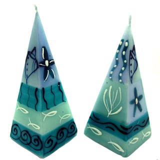 Set of Two Hand-Painted Pyramid Candles - Samaki Design - Nobunto Candles (South Africa)