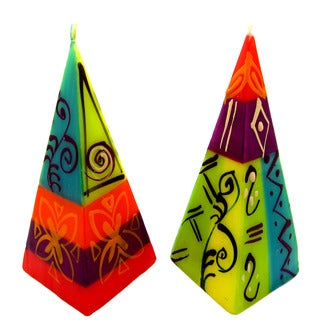 Set of Two Hand-Painted Pyramid Candles - Matuko Design - Nobunto Candles (South Africa)