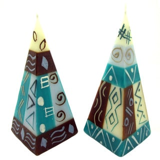 Set of Two Hand-Painted Pyramid Candles - Maji Design - Nobunto Candles (South Africa)