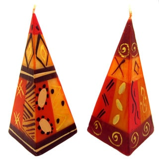 Set of Two Hand-Painted Pyramid Candles - Bongazi Design - Nobunto Candles (South Africa)