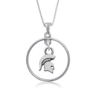 Michigan State Sterling Silver Open Drop Necklace