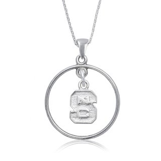 NC State Sterling Silver Open Drop Necklace