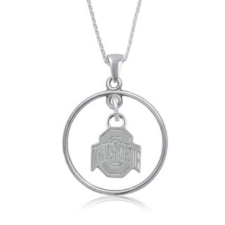 Ohio State Sterling Silver Open Drop Necklace
