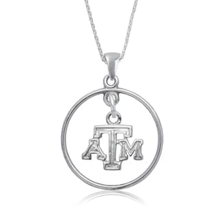 Texas AandM Sterling Silver Open Drop Necklace