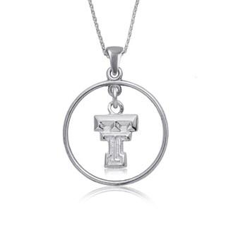 Texas Tech Sterling Silver Open Drop Necklace