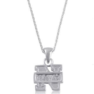 Navy Sterling Silver Charm Necklace