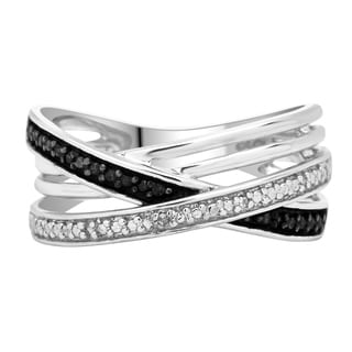 Divina Sterling Silver 1/10ct TDW Black and White Diamond Multi-band Ring