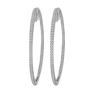 Divina 14k White Gold 1ct TDW Diamond Hoop Earrings (H-I, I1-I2)
