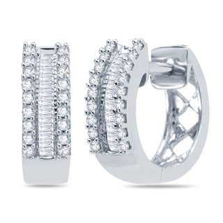 Divina 10k White Gold 1/4ct TDW Round and Baguette Diamond Hoop Earrings (H-I , I1-I2)