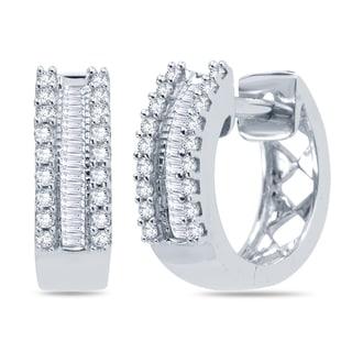 Divina 10k White Gold 1/4ct TDW Round and Baguette Diamond Hoop Earrings (H-I , I1-I2)