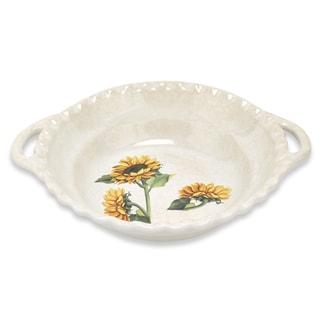 Lorren Home Trends 19-inch Sunflower Round Bowl with Handles