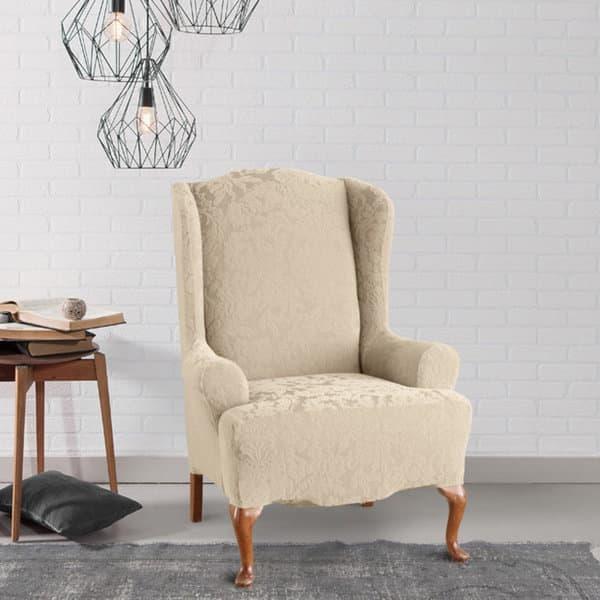 Fantastic Shop Sure Fit Stretch Jacquard Damask Wing Chair Slipcover Machost Co Dining Chair Design Ideas Machostcouk