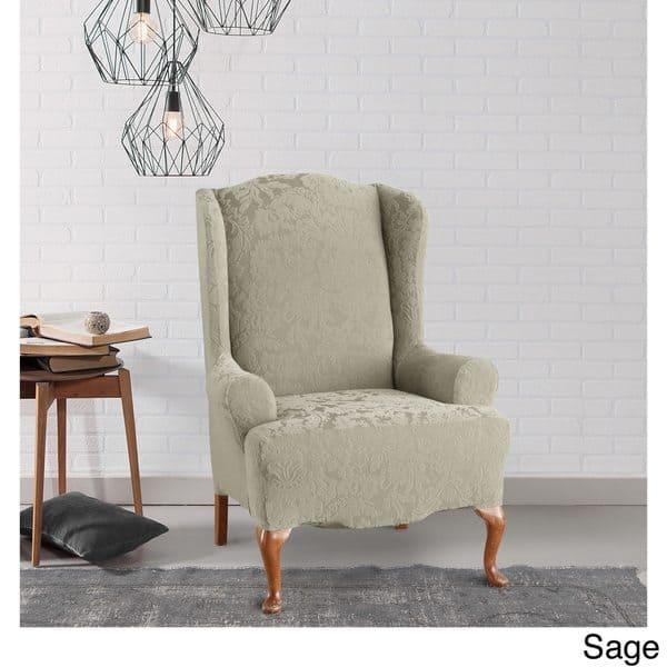Super Shop Sure Fit Stretch Jacquard Damask Wing Chair Slipcover Machost Co Dining Chair Design Ideas Machostcouk