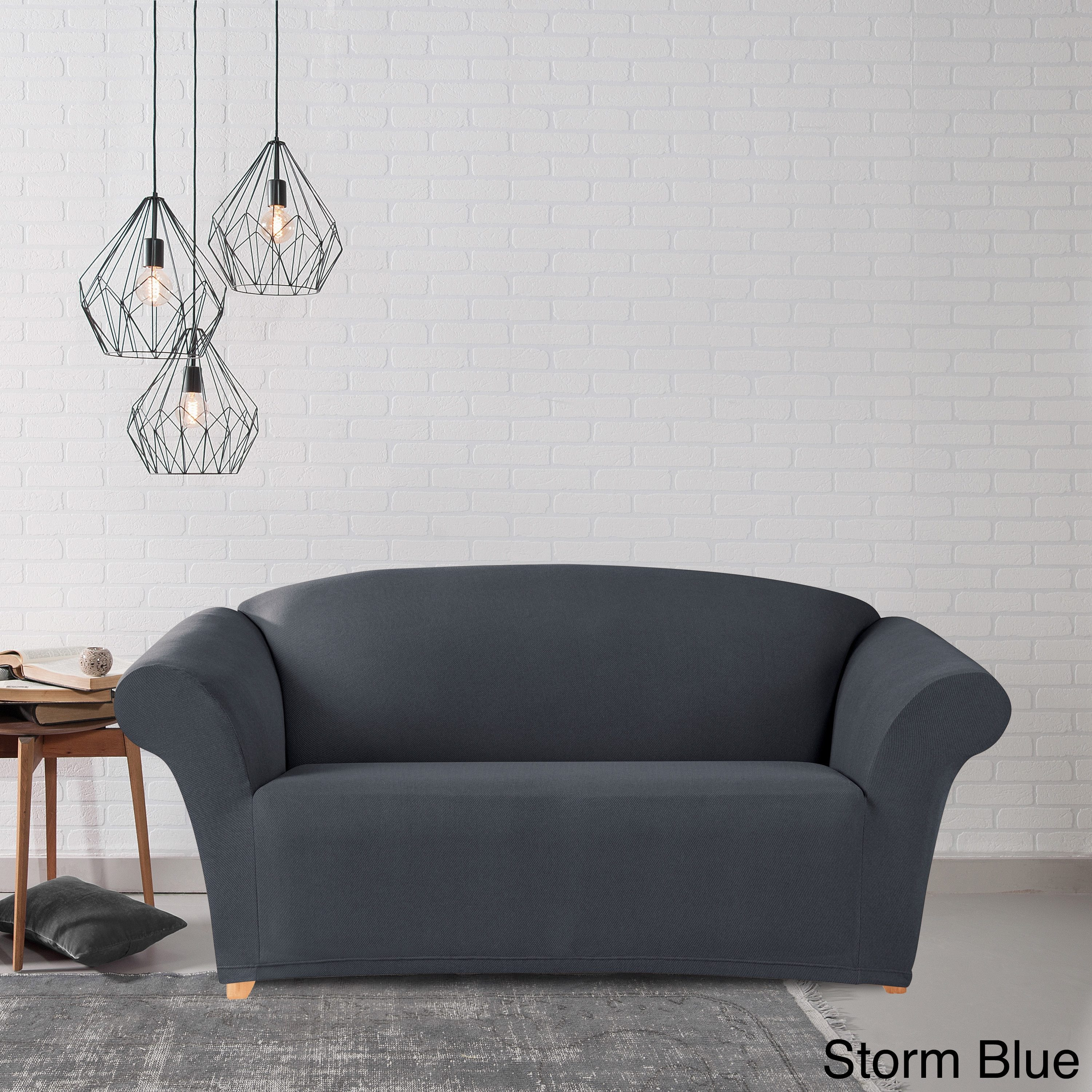 SureFit Simple Stretch Twill Recliner Slipcover Storm Blue