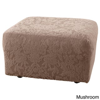 Sure Fit Stretch Jacquard Damask Ottoman Slipcover (Option: Mushroom)