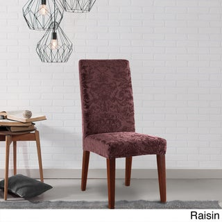Sure Fit Stretch Jacquard Damask Dining Room Chair Slipcover (Option: Raisin)