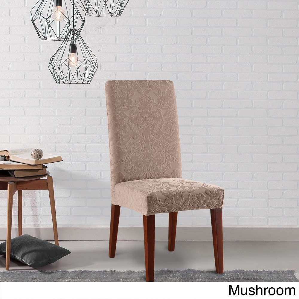 Sure Fit Stretch Jacquard Damask Dining Room Chair Slipcover Overstock 10296074 Gray