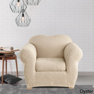 Sure Fit Stretch Jacquard Damask Two-piece Chair Slipcover (Option: Oyster)