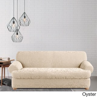 Sure Fit Stretch Jacquard Damask Two-piece T Cushion Sofa Slipcover (2 options available)
