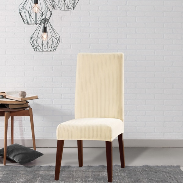 Stretch Dining Room Chair Slipcovers shop sure fit stretch pinstripe dining room chair slipcover - on