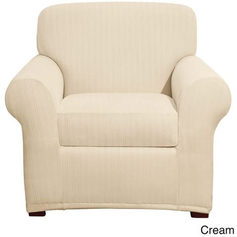 Sure Fit Stretch Pinstripe Two-piece Chair Slipcover - 2Piece