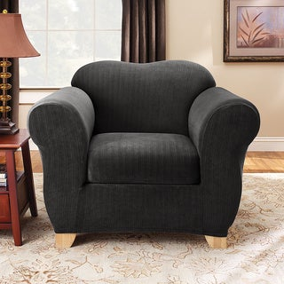 Sure Fit Stretch Pinstripe Two-piece Chair Slipcover