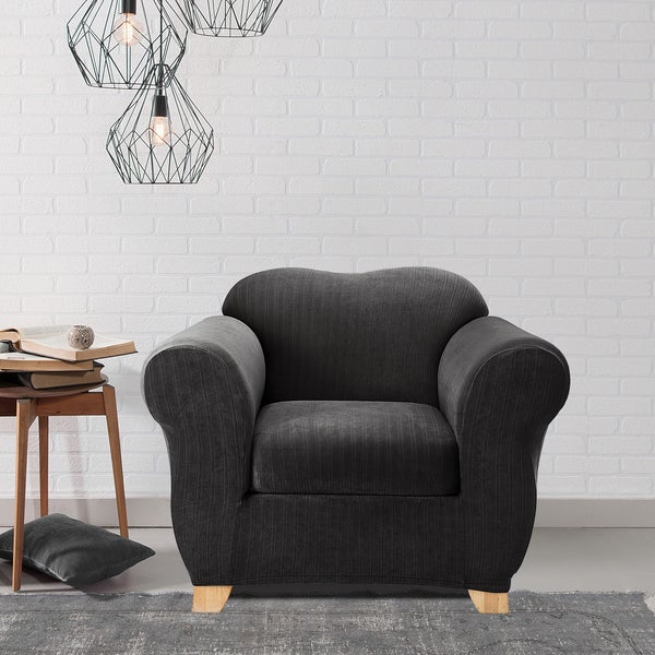 Sure Fit Stretch Pinstripe Two-piece T Cushion Chair Slipcover